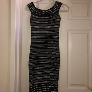 Off the Shoulder Black and White Bodycon Dress
